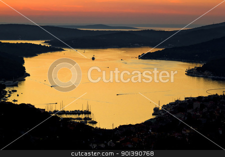 Island of Losinj bay reflection at sunset stock photo, Island of Losinj bay reflection at sunset with boats, Croatia by xbrchx