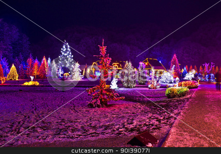 Christmas lights in town park - fantasy colors stock photo, Christmas lights in town park - fantasy colors, Cazma, Croatia by xbrchx