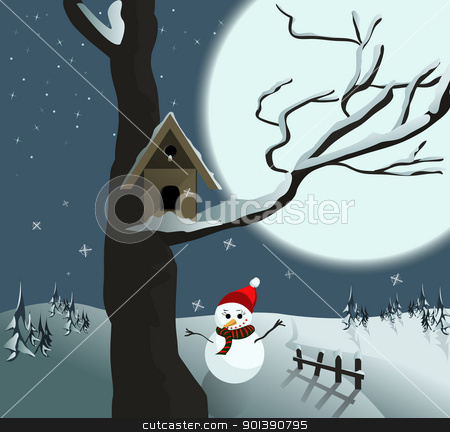 Birdhouse stock vector clipart, Birdhouse on snowed tree with moonlight  by Oko Laa