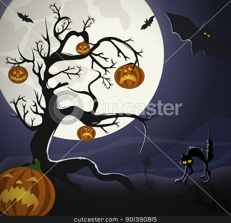 Halloween Night  stock vector clipart, Tree with pumpkin-heads and black cat on the graveyard, under Halloweens moonlight. by Oko Laa