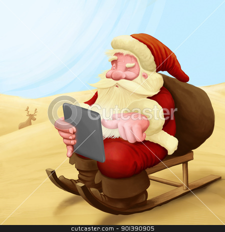 Santa Claus lost stock photo, Santa Claus with you tablet lost in the desert by Giordano Aita
