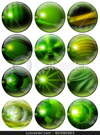 Fantastic Green Spheres stock photo, 12 green spheres with of fantasy with reflections and terrestrial globes by catalby