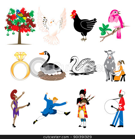 12 Days of Christmas stock vector clipart, Vector Illustration Card of the 12 days of Christmas icons in full color. by Basheera Hassanali