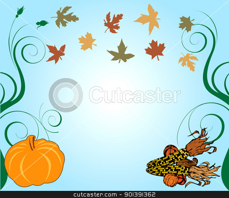 Thanksgiving Background stock vector clipart, Vector Illustration of a Thanksgiving Background with pumpkin and corn. by Basheera Hassanali