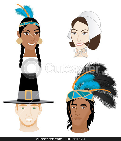 Indians and Pilgrims stock vector clipart, Vector Illustration of 4 faces for Thanksgiving. Indians and Pilgrims by Basheera Hassanali