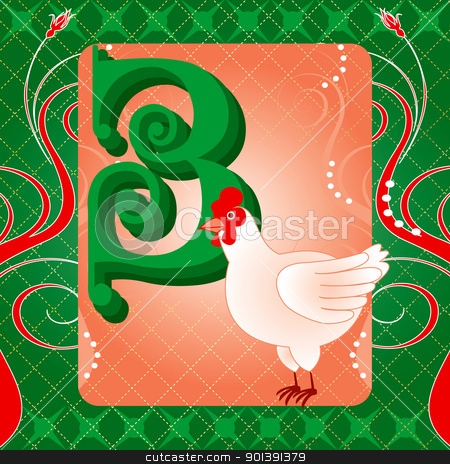 3rd Day of Christmas stock vector clipart, Vector Illustration Card for the 12 days of Christmas. Three French Hens. by Basheera Hassanali