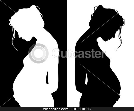 silhouettes of pregnant stock vector clipart, black and white silhouettes of pregnant by Yuriy Mayboroda