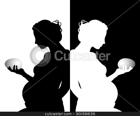 black and white silhouette stock vector clipart, black and white silhouettes of pregnant with an egg by Yuriy Mayboroda