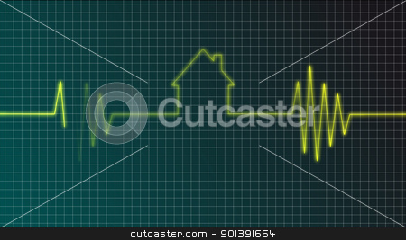 real estate market stock photo, cardiogram with house symbol - illustration by J?