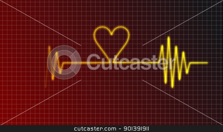 heartbeat stock photo, cardiogram curve with heart symbol by J?