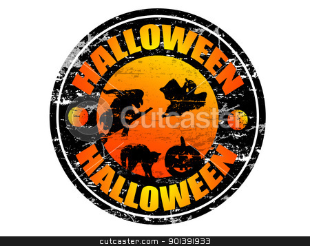 Halloween stamp stock vector clipart, Abstract grunge rubber stamp with the word Halloween written inside the stamp by radubalint