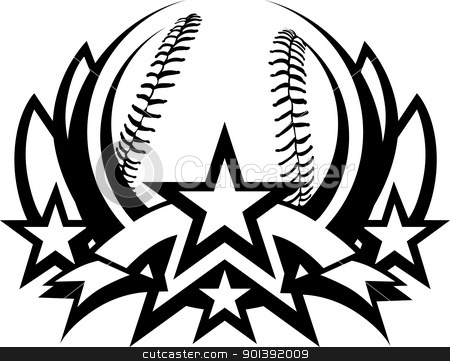 Baseball Vector Graphic Template with Stars stock vector clipart, Baseball Template  Vector Graphic with Banner by chromaco