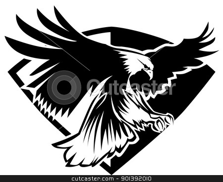 Eagle Mascot Flying Wings Badge Design stock vector clipart, Flying Eagle Vector Graphic Mascot Image Template by chromaco