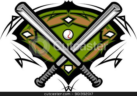 Baseball Field with Softball Crossed Bats Vector Image Template stock vector clipart, Softball Bats Baseball Field Graphic Vector Template by chromaco