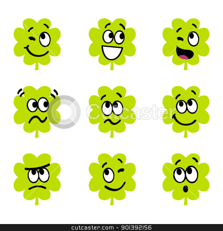 Cartoon four leaf clovers with facial expression isolate on whit stock vector clipart, Vector collection of funny four leaf clovers.   by BEEANDGLOW