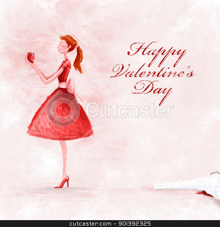 Happy valentine's day stock photo, Fallen in love girl conquest the heart of the loved boy by Giordano Aita