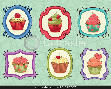 Yummy Cupcakes! stock vector clipart, Yummy Cupcakes on sketchy frames. by wingedcats
