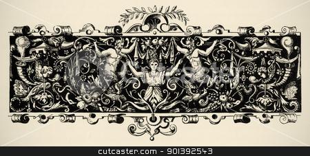 Arabesque, renaissance . Engraving of 16 century.  stock photo, Arabesque, renaissance . Engraving of 16 century. Copyright expired. by pashabo