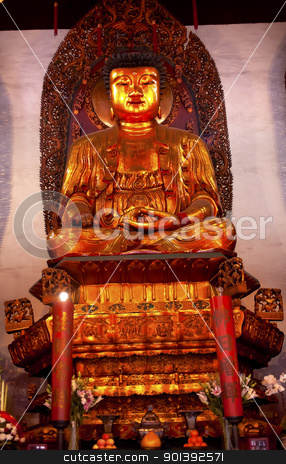 Buddhist Statue Jade Buddha Temple Jufo Si Shanghai China stock photo, Gold Buddhist Statue Jade Buddha Temple Jufo Si Shanghai China Most famous buddhist temple in Shanghai by William Perry