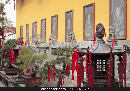 Buddhist Stone Etchings Lanterns Red Rbbon DecoratoinsStatue Jad stock photo, Buddhist Etchings Red Ribbons New Year Sayingts Chinese New Decorations Lanterns Jade Buddha Temple Jufo Si Shanghai China Most famous buddhist temple in Shanghai by William Perry