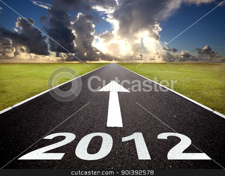 road to the new year 2012 and sunrise stock photo, road to the new year 2012 and sunrise by tomwang