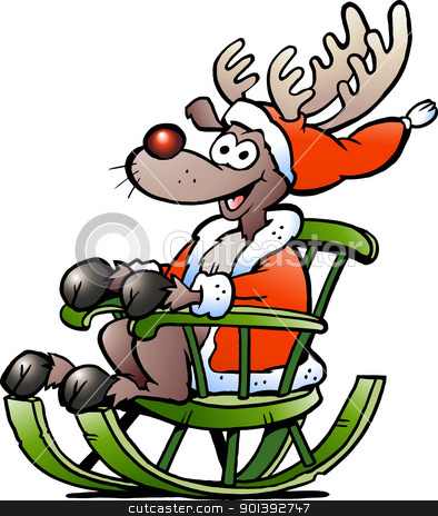 Hand-drawn Vector illustration of an Reindeer sitting in rocking chair stock photo, Hand-drawn Vector illustration of an Reindeer sitting in rocking chair by DrawShop - Poul Carlsen
