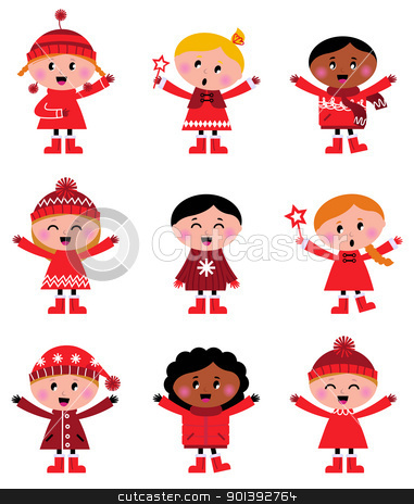 Cute little christmas kids collection isolated on white stock vector clipart, Little christmas cartoon children set - vector Illustration  by BEEANDGLOW