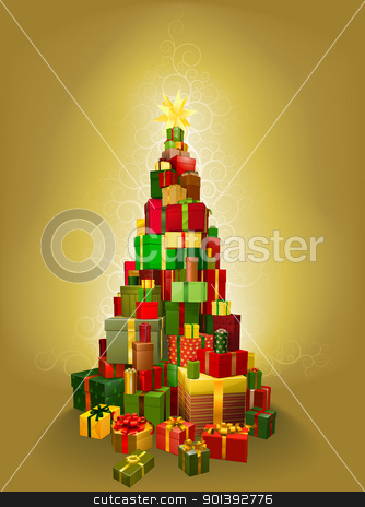 Gold Christmas present tree Illustration stock vector clipart, Illustration of a pile of presents in the shape of a Christmas tree with gold pattern background by Christos Georghiou