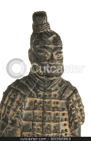 Chinese warrior stock photo, Statuette of a chinese terracotta warrior by Alexander Donchev