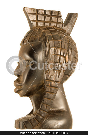 African statuette stock photo, Handmade ebony african statuette of a woman by Alexander Donchev