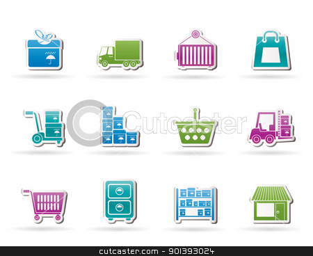 Storage, transportation, cargo and shipping icons  stock vector clipart, Storage, transportation, cargo and shipping icons - vector icon set by Stoyan Haytov