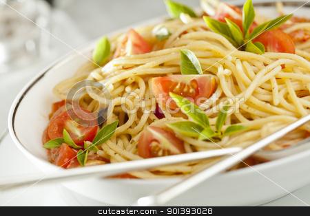 Tomato and Basil Pasta stock photo, Photograph of a tomato and basil pasta dish by mpessaris