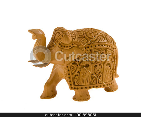 Wooden elephant stock photo, Indian hand made statue of an elephant by Alexander Donchev