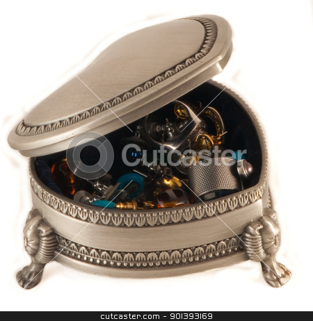 Heart shaped box stock photo, Jewelery box full with 'treasures' made from silver by Alexander Donchev
