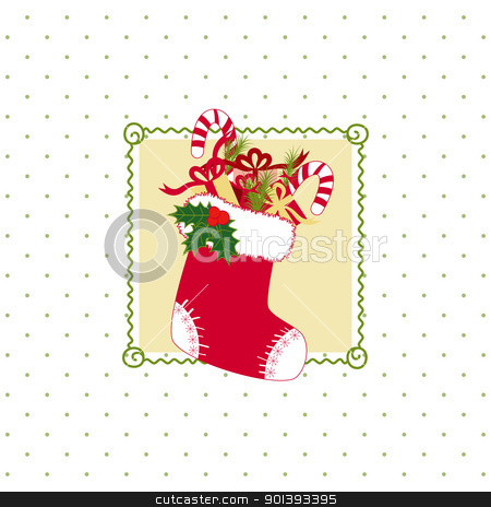 Christmas greeting card stock vector clipart, Christmas stocking with colorful Christmas gifts on polka dot background by meikis