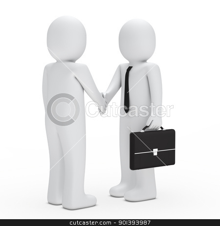 business man handshake stock photo, 3d business man with tie briefcase handshake by d3images