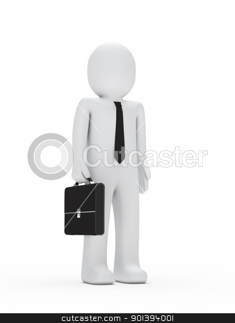 business man with tie and briefcase stock photo, 3d business man with tie and briefcase by d3images