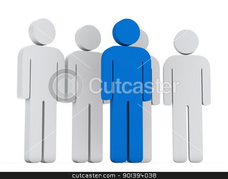 teamwork group with blue leader  stock photo, 3d teamwork group with blue leader front by d3images