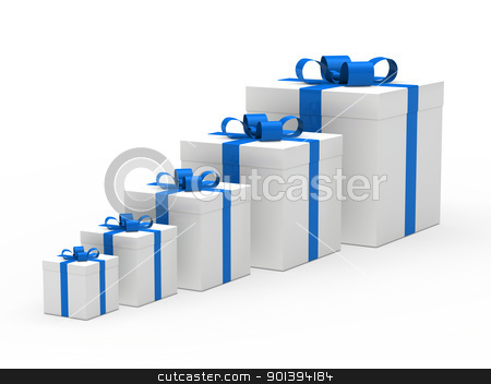christmas gift box white blue ribbon stock photo, 3d christmas gift box white blue ribbon by d3images