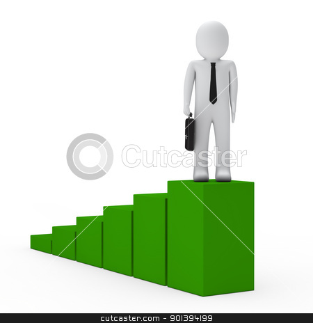 business man success up stock photo, 3d business man go for success up by d3images