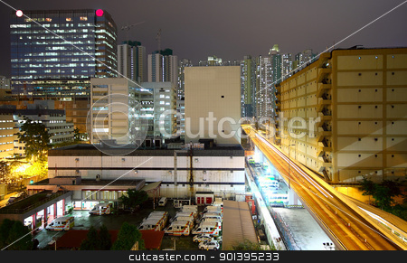 urban downtown night stock photo, urban downtown night, hong kong by Keng po Leung