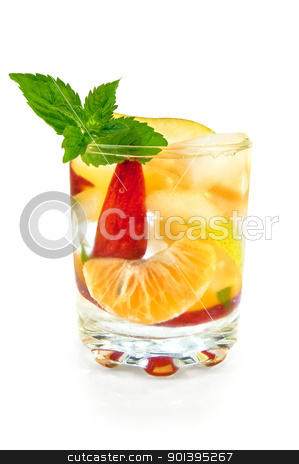Fruit cocktail in a glass stock photo, Fruit cocktail of pear, tangerine, peach and mint with ice in a glass isolated on white background by rezkrr