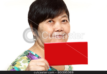 Asian woman holding a red card stock photo, Asian woman holding a red card by Keng po Leung
