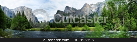 El Capitan Yosemite Nation Park stock photo, El Capitan View in Yosemite Nation Park with river in foreground by Henrik Lehnerer