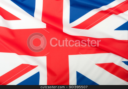 Great Britain Flag stock photo, Closeup of Glossy Flag of Great Britain - UK Flag Drapery by JAMDesign