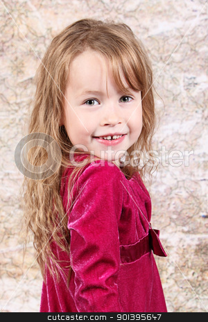 Little girl posing with Christmas stock photo, Little girl posing with Christmas dress taken closeup by Melissa King