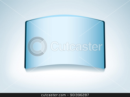 Blue glass background stock vector clipart, Clear glass name plate or board on blue background by Michael Travers