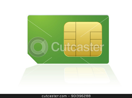 Green phone sim stock vector clipart, Modern mobile or cell phone sim with reflection by Michael Travers