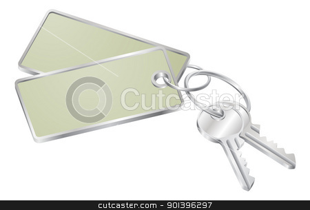 Two keys with blank tag for text stock vector clipart, Illustration of two keys on a keyring with tag with copy-space for your text  by Christos Georghiou
