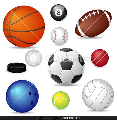 Sport balls stock vector clipart, Vector illustration of  sport balls over white by Vladimir Gladcov